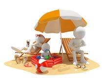 белые человеки 3D. Семья на пляже иллюстрация штока
