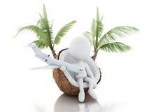 белые человеки 3d сидя в кокосе Концепция vacaction пляжа Стоковая Фотография RF