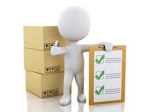 белые человеки 3d с контрольным списоком и картонными коробками доски сзажимом для бумаги Стоковые Изображения RF