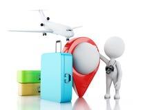 белые человеки 3d туристские с чемоданами и камерой перемещения Стоковые Фото