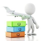 белые человеки 3d туристские с чемоданами и самолетом Перемещение co Стоковые Изображения RF