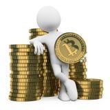 белые человеки 3D. Bitcoin Стоковые Фото