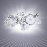 Белые шестерни на серой предпосылке с нашивками на Стоковые Изображения RF