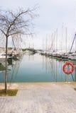 Белые шлюпки и яхты в набережной Стоковые Изображения RF