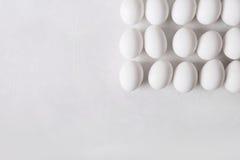 Белые яичка в форме квадрата на белой предпосылке Стоковое фото RF