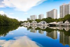 Белые яхты, Майами Стоковые Изображения RF