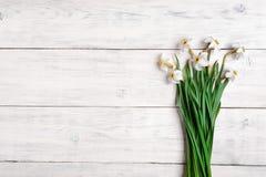 Белые Daffodils на деревянной предпосылке, космосе экземпляра Стоковое фото RF