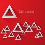 Белый абстрактный треугольник на красной предпосылке eps 10 Стоковое Изображение