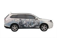 Белый автомобиль изолированный на белизне Стоковое Изображение