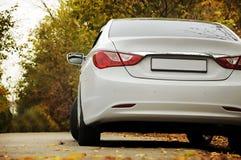 Белый автомобиль и осень Стоковые Фотографии RF