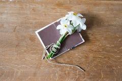 Белый букет daffodils на деревянной предпосылке Цветки Narcissus Стоковые Фото