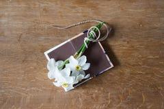 Белый букет daffodils на деревянной предпосылке Цветки Narcissus Стоковая Фотография RF