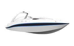Белый быстроходный катер изолированный на белой предпосылке иллюстрация вектора