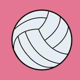Белый вектор волейбола Значок волейбола на пинке Стоковые Изображения RF