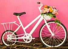 Белый велосипед на розовой стене Стоковые Фотографии RF