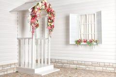 Белый Дом с цветками и белым крылечком Провансаль стоковое фото