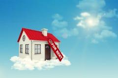 Белый Дом с ярлыком для ренты, красной крышей и Стоковые Изображения