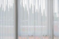 Белый занавес ткани Стоковые Фотографии RF