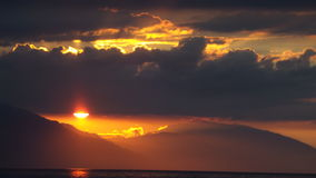 Белый заход солнца пляжа Стоковая Фотография RF