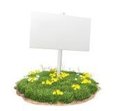 Белый знак на траве Стоковое Изображение RF