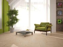 Белый дизайн интерьера живущей комнаты с современной мебелью Стоковая Фотография