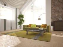 Белый дизайн интерьера живущей комнаты Стоковая Фотография