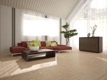 Белый дизайн интерьера живущей комнаты Стоковое Изображение RF