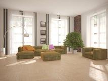 Белый дизайн интерьера живущей комнаты Стоковые Изображения RF