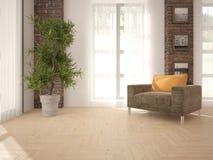 Белый дизайн интерьера живущей комнаты Стоковое фото RF