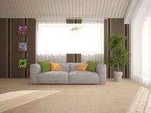 Белый дизайн интерьера живущей комнаты Стоковое Изображение