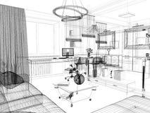 Белый интерьер живущей комнаты Стоковое фото RF