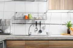 Белый интерьер кухонной раковины Стоковое Изображение