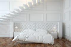 Белый интерьер спальни с лестницами (вид спереди) Стоковое фото RF