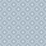 Белый и бледный - голубая картина Fleur-De-Lis текстурировала ткань Backgro Стоковые Изображения RF