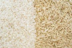 Белый и коричневый рис Стоковая Фотография