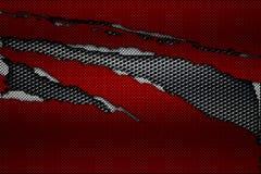 Белый и красный разрыв волокна углерода на черной металлической сетке Стоковые Изображения RF