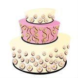 Белый и розовый украшенный свадебный пирог с маргаритками Стоковые Изображения RF