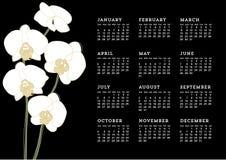 Белый календарь орхидей Стоковая Фотография