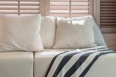 Белый комплект цвета подушек и софы в современной живущей комнате Стоковое Фото