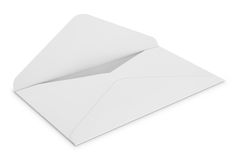 Белый конверт на белой предпосылке Стоковые Фотографии RF