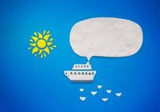 Белый корабль с речью пузыря Стоковая Фотография
