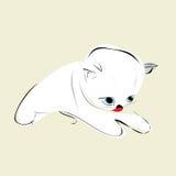 Белый котенок с голубыми глазами и красным языком Стоковые Фотографии RF