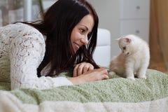 Белый котенок Стоковые Фотографии RF