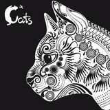 Белый кот, декоративная картина для татуировки или восковка Стоковое Фото