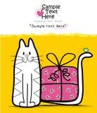 Белый кот и подарок Стоковая Фотография