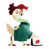 Белый кран в зеленом кимоно бесплатная иллюстрация