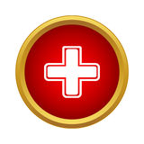 Белый крест на красном значке предпосылки, простом стиле Стоковые Фотографии RF