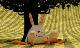Белый кролик под деревом иллюстрация вектора
