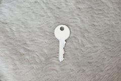 Белый ключ на мехе Стоковое Фото