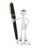 Белый маленький человек 3D с ручкой. иллюстрация штока